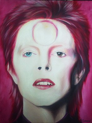 Mel Fiorentino Artwork Ziggy Stardust Portrait of David Bowie, 2015 Oil Painting, Popular Culture