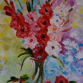 Valerie Curtiss: 'Glad All Over', 2014 Acrylic Painting, Floral. Artist Description:  Still life, a bunch of gladiolus, glads, vase, pinks, yellow, palette knife, acrylic, flowers, floral ...