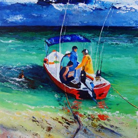 Valerie Curtiss: 'READY FOR FISHING ', 2015 Acrylic Painting, Boating. Artist Description:  Boat, fishing, gulf, fishermen, water, sea, waves, turquoise, a study of fishermen in a boat ready for a day's fishing on the gulf. ...
