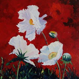 Valerie Curtiss: 'White on Red, Poppies', 2015 Oil Painting, Floral. Artist Description:  Floral, red, white, poppies, field, meadow, wildflower, summer, nature, plants, palette knife, acrylic    ...