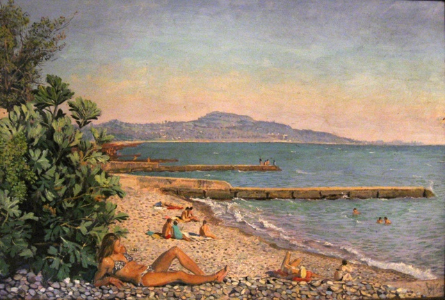 Artemi Pugachov: Beach in Novy Afon, 1987 Oil Painting