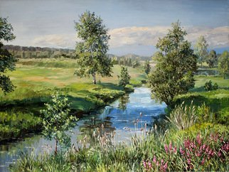 Artemis  Artists Association: 'landscape with a river', 2015 Oil Painting, Landscape. Artist Description: birch, forest, trees, flowers, meadow, field, shore, summer, air, sun, space...
