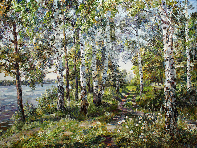 Artemis  Artists Association: path in summer, 2015 Oil Painting