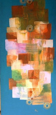 Gudrun Ploetz: 'The green and the colours 2', 2002 Encaustic Painting, Abstract. Encaustic and acryl paints on canvas...