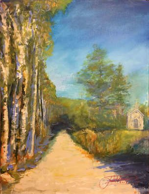 Jack Diamond: 'old country church', 2017 Acrylic Painting, Landscape. painting, landscape, church, country, jack diamond, art, fall, autumn, path, trees, leaves, field, ...