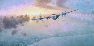 Raymond Paul Moats: 'Home Again', 1995 Giclee - Open Edition, Airplanes.  Home Again.  B- 24J, 34th Bomb Group, 8th Air ForceCanvas prints only $120. 00 ea.* by Raymond Paul MoatsThe Original oil painting on panel, 18  32 inches, and framed.   Summer 1944, and 9 hours aloft. This B- 24 wounded over the continent in the assault on Hitler' ...