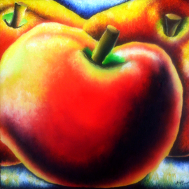 Katie Puenner: 'Apple Hearts', 2014 Oil Painting, Fauna. Artist Description:  This original oil on canvas is impressionistic in style and vibrant in color. This gallery wrapped, one of a kind painting would make a great addition to any home or office. ...