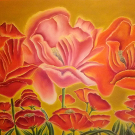 Katie Puenner: 'Poppy Party', 2015 Oil Painting, Fauna. Artist Description:     This original oil on canvas is illustrative in style and vibrant in color. This gallery wrapped, one of a kind painting would make a great addition to any home or office.    ...