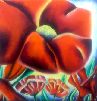 Katie Puenner Artwork Red Poppy, 2014 Oil Painting, Botanical