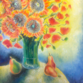 Katie Puenner Artwork Sunflowers, 2014 Oil Painting, Floral