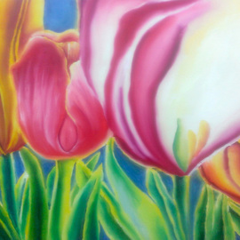 Katie Puenner Artwork Tulips, 2015 Oil Painting, Floral