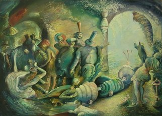 Arthur Bell: 'Expulsion from the Mystery Dance', 1989 Oil Painting, Surrealism.  This is a sequel to the Mystery Dance. The people who were dancing the night before have been asked to leave. ...