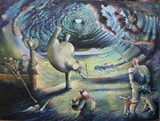 Arthur Bell: 'Eye of the Storm', 1991 Oil Painting, Surrealism. an impossibility- an elephant standing on one foot, a Nazi hit man is readying to shoot the elephant and the children are tryiing to stop him, there are skeletons with stereo microphones , the pink elephant is a fantod, other characters from other paintings too...
