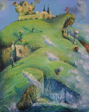 Arthur Bell: 'Landscaping', 1986 Oil Painting, Surrealism.  . . . after returning from a trip to Forest Grove, Oregon. . . the Mexican landscapers are mowing   ...