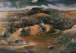 Arthur Bell: 'Motorcycle War', 1986 Oil Painting, Surrealism.  . . . was the civil war fought on motorcycles? ...