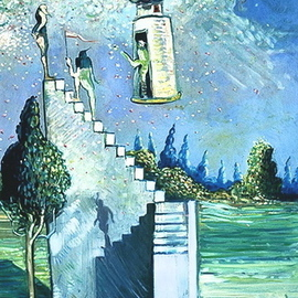 Arthur Bell Artwork Stairway to Paradise, 1979 Oil Painting, Surrealism