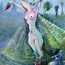 Arthur Bell: 'escape of the rhinofly', 2017 Oil Painting, Surrealism. Artist Description: Escape of the Rhino Flyby Arthur Bell32aEURX21oil on canvas 1982. . . the Rhino fly, painted in 1980 as aEURoeThe First Nude Exhibition of the Nude Rhino FlyaEUR was published inaEURoeHeavy MetalaEUR Oct. aEUR~81. . . here her captor is keeping her tethered as she tries to escape. . . ...