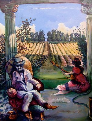 Arthur Bell Artwork the veranda, 1976 Oil Painting, Humor