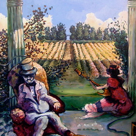 Arthur Bell: 'the veranda', 1976 Oil Painting, Humor. Artist Description: The Verandaby Arthur Bell30aEURX23 oil on masonite 1976 . . . at a cotton plantation, sitting on the veranda with marble columns, the owner relaxes in his armchair, drinking his mint julep with his necessities of footstool and spittoon at the ready, while a fair maiden entertains him with ...