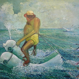 Arthur Bell: 'waterskiing monkeys', 1977 Oil Painting, Humor. Artist Description: Waterskiing Monkeysby Arthur Bell20aEURX26oil on canvas 1977. . . the large shaved gorilla is riding 2 dolphins wearing swim goggles. . . 3 smaller monkeys are water skiing. . . in the background , The King Cosmo Imperial Cheroot , a steam- operated kayak is sinking...