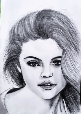 Gurpreet Singh: 'selena gomez', 2019 Body Art, Beauty. Sketch of Selena gomez...