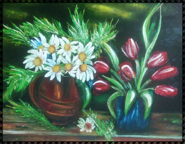 Artist Antonio Cariola. 'Fiori E Papaveri' Artwork Image, Created in 2017, Original Painting Acrylic. #art #artist
