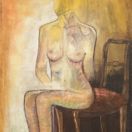 Frank Hoffmann: 'nude on chair', 2013 Acrylic Painting, nudes. Artist Description:  Nude      ...