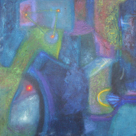 Hirjoi Dorothea Artwork night, 2010 Oil Painting, Abstract Landscape