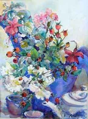 K C Tan Bee Artwork Rosehips and Teapot, 2007 Watercolor, Floral
