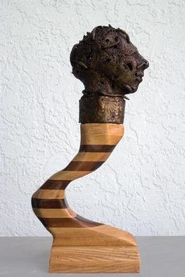 Stephanie Grimes: 'Protoaddiction', 2005 Mixed Media Sculpture, Figurative. The bronze head of this award winning sculpture sits on a two- toned, curved wooden