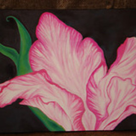 Jamie Sieprawski: 'Feminine flower', 2008 Acrylic Painting, Floral. Artist Description:  Acrylic and pastel painting on mounted canvas. I painted this pink flower to express the beautiful, feminine, open and vulnerable side of my personnality and that of my fellow sisters in this world. This work of art has a certain mysterious, dark side to it all while being ...
