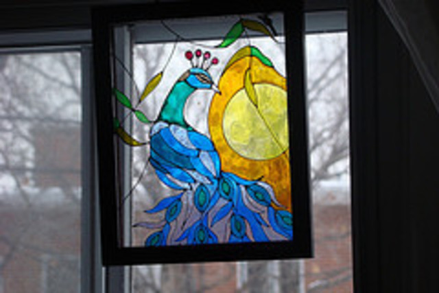 Jamie Sieprawski  'Peacock  Stained Glass', created in 2006, Original Glass Stained.