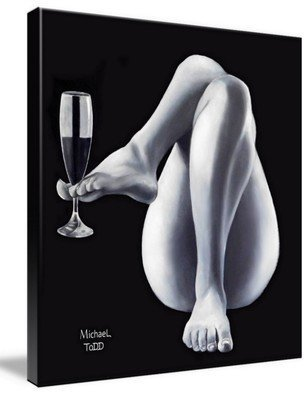 Michael Todd: 'a toast to you', 2016 Oil Painting, Romance. Artist Description: This painting was my second in a 14 pc. series I titled SensuElle . Legs, wine glass, womans toes and feet, nude, naked, black and white...