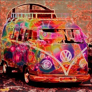 Michael Todd: 'hippie days', 2018 Giclee, Psychedelic. Artist Description: VW Van, Hippie Van, Peace sign...