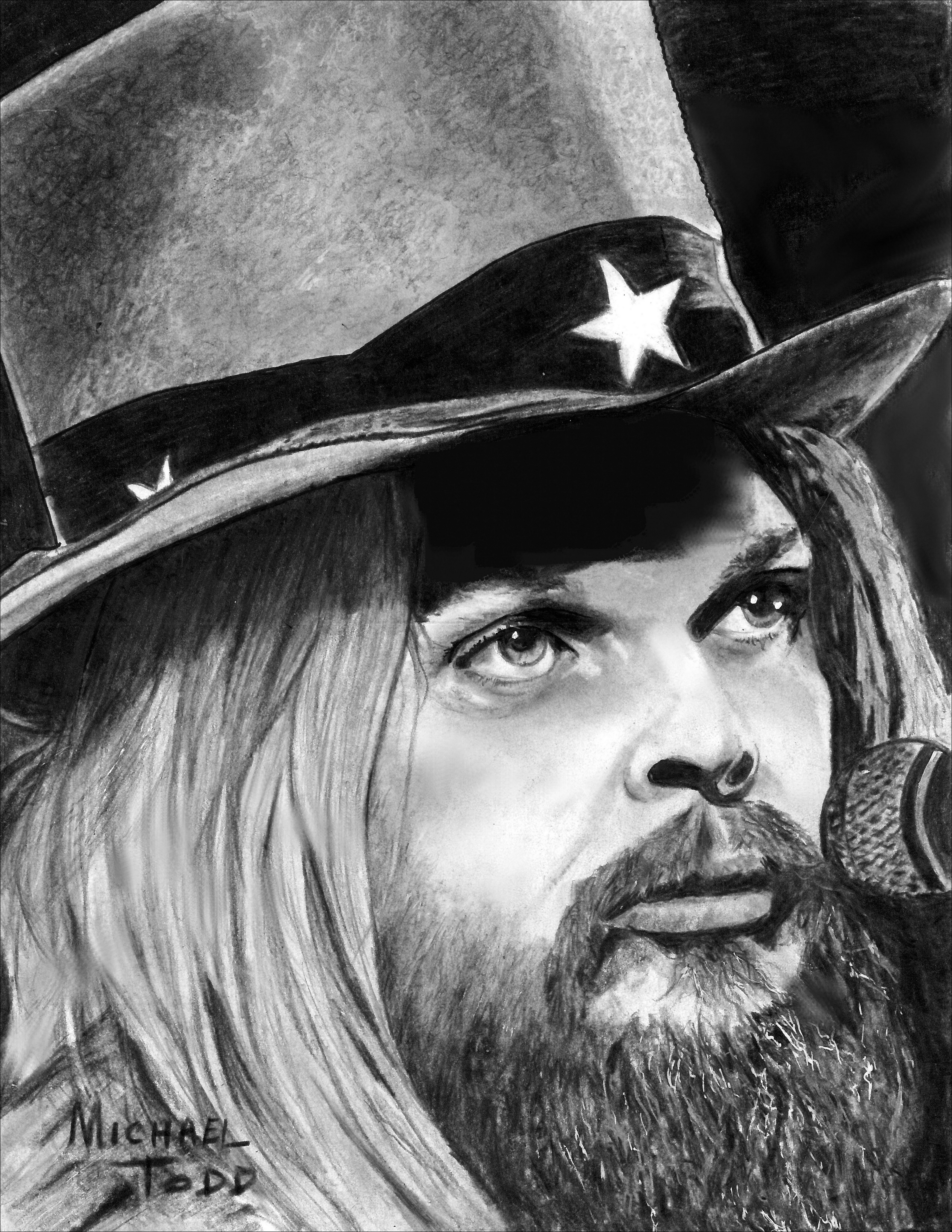 Michael Todd: 'leon russell', 2018 Graphite Drawing, Celebrity. Artist Description: Leon Russell, musician, pianist, piano, singer, songwriter, rock icon, blues icon, ...
