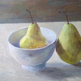 Igor Matselik: 'pears', 2020 Oil Painting, Still Life. Artist Description: oil, cardboard...