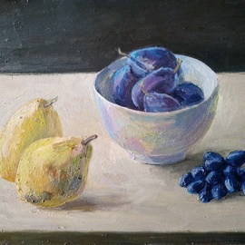 Igor Matselik: 'pears', 2020 Oil Painting, Still Life. Artist Description: oil, cardbord...