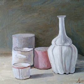 Igor Matselik: 'replica of morandi', 2020 Oil Painting, Still Life. Artist Description: oil on canvas...