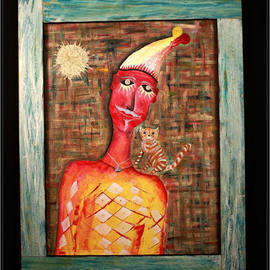 Metreveli Mamuka Artwork Clown with a cat, 2009 Other Painting, Surrealism