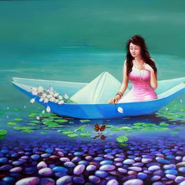 Sabir Haque: 'a journey of childhood', 2016 Acrylic Painting, Surrealism. Artist Description: Everyone Has very beautiful childhood memories. As clear as the water of lake. Like the colorful pebble stones are scattered on the bottom of the heart. I wish travel by boat from invading the childhood days. ...