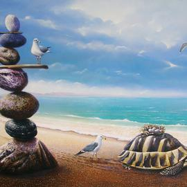 Sabir Haque: 'adoption', 2016 Acrylic Painting, Surrealism. Artist Description: The turtle, the mythical savior or the eggs of a bird that will infuse new life into this world, the mother looks on. ...