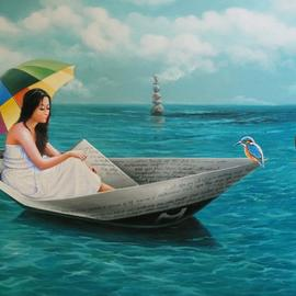 Sabir Haque: 'chithir vela', 2016 Acrylic Painting, Surrealism. Artist Description: 1470                                   Stone markings beckon the lover into the world of fantasy, where she sails in the boat of the epistles of her lover, immersed in the spectrum of colors. ...