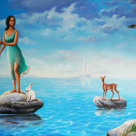 Sabir Haque: 'sea voyage', 2016 Acrylic Painting, Surrealism. Artist Description: Eternal quest for her beloved, who has forsaken her, creatures like deer , rabbit, bird etc sympathies her. ...