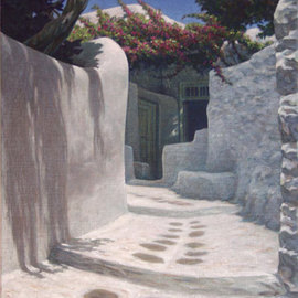 Brian Aurelio Piccini: 'Cycladic Alley', 2006 Acrylic Painting, Scenic. Artist Description:  mykonos, cyclades, greece...