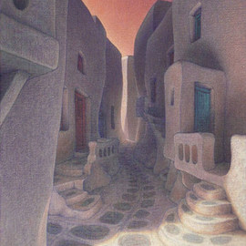 Brian Aurelio Piccini: 'Cycladic Walk II', 2009 Acrylic Painting, Scenic. Artist Description:   mykonos, cyclades, greece ...