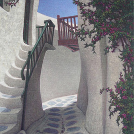 Brian Aurelio Piccini: 'Cycladic Walk III', 2012 Acrylic Painting, Scenic. Artist Description:    mykonos, cyclades, greece  ...