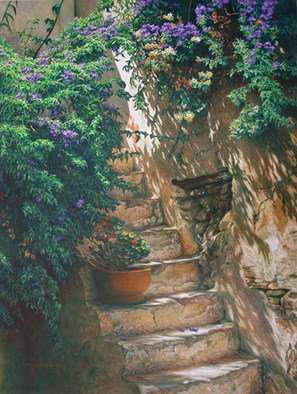 Brian Aurelio Piccini: 'Old Staircase', 2012 Acrylic Painting, Scenic.   mykonos, cyclades, greece    ...