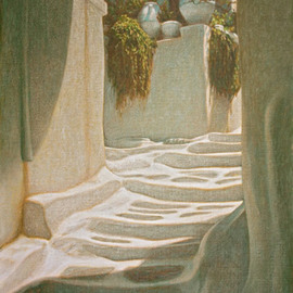 Brian Aurelio Piccini: 'Steps III', 2012 Acrylic Painting, Scenic. Artist Description:     mykonos, cyclades, greece      ...