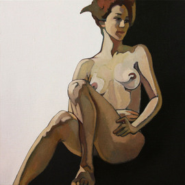 Ludmila Guryeva: 'Cinema', 2011 Oil Painting, Nudes.