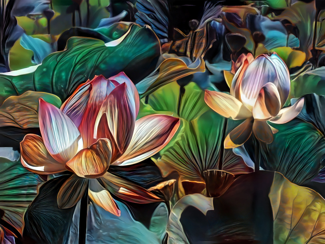 Artly Studio  'Lotus Pond', created in 2018, Original Digital Art.